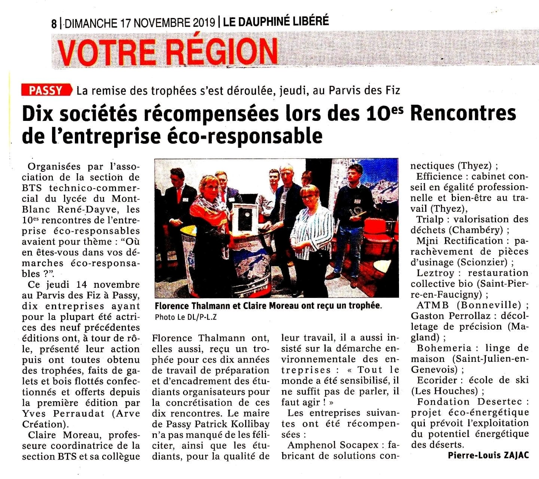 Article Dauphiné Libéré Trophées éco-responsable valorisation des déchets Chambéry